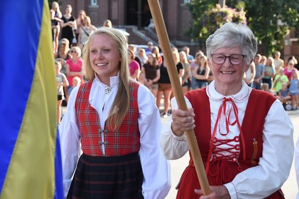Carrying the Swedish flag at Nordic Fest Opening Ceremonies